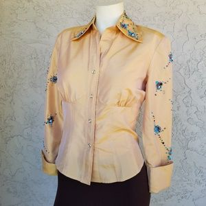 Vtg Marissa Baratelli Embellished Thai Silk Blouse